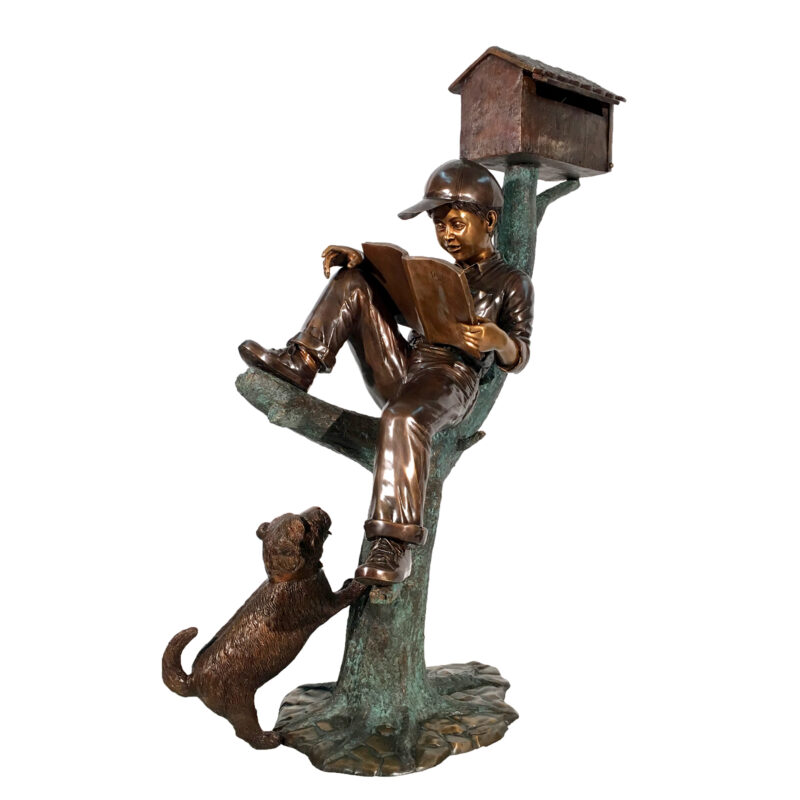 Bronze Boy & Dog on Log Mailbox Sculpture Metropolitan Galleries Inc. Bronze Mailbox Design
