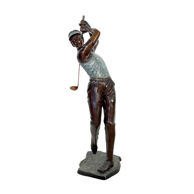 SRB705035 Bronze Male Golfer in Post Swing Sculpture by Metropolitan Galleries Inc
