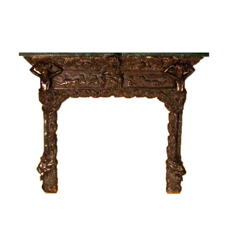SRB80012 Bronze Fire Place Surround Marble Mantle Metropolitan Galleries Inc.