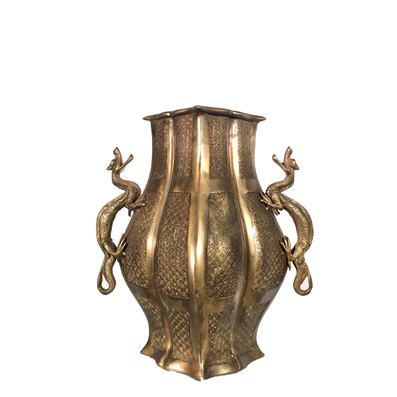 Cast Bronze Diamond Vase with Dragons on Handles