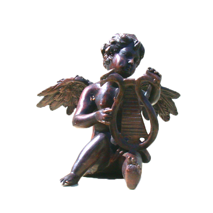 SRB81647 Bronze Cupid playing Harp Sculpture Metropolitan Galleries Inc.