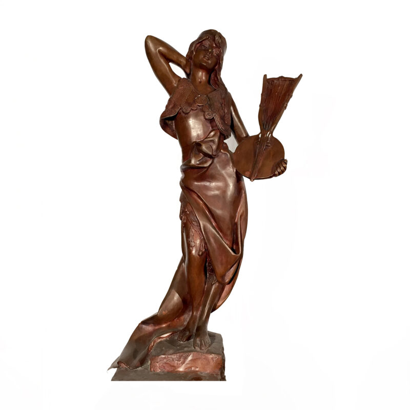 SRB81838 Bronze Lady with Lute Sculpture Metropolitan Galleries Inc.