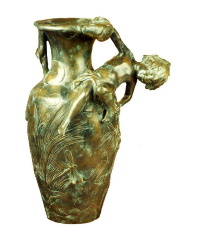 SRB81907 Bronze Boy on Vase Metropolitan Galleries Inc.