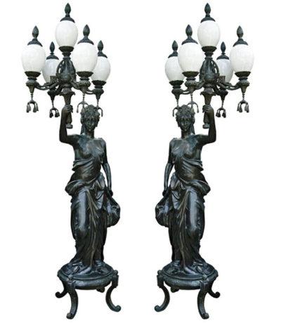 SRB83008 Bronze Lady holding Candelabra Torchere Metropolitan Galleries Inc.
