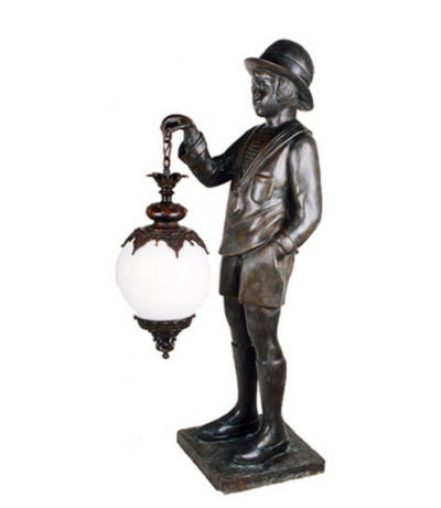 SRB83104 Bronze Boy holding Lantern Sculpture Metropolitan Galleries Inc.