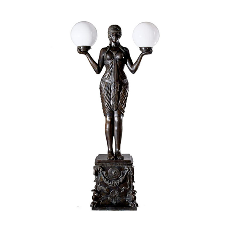 SRB83115 Bronze Art Deco Goddess atop Pedestal Torchiere Sculpture by Metropolitan Galleries Inc