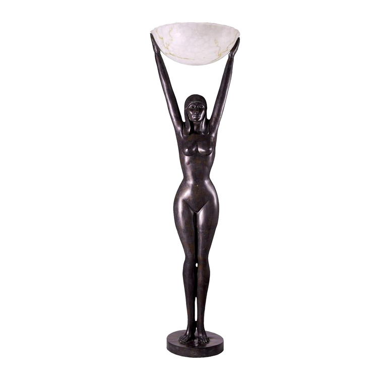 SRB83145 Bronze Art Deco Invocation Nude Female Torchiere Sculpture by Metropolitan Galleries Inc