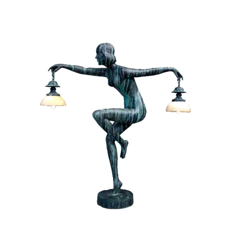 SRB83146 Bronze Art Deco Nude Lady Dancer Torchiere by Metropolitan Galleries Inc