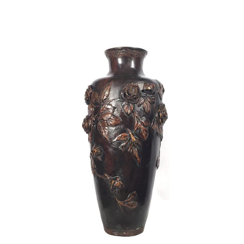 SRB85033 Bronze Rose Pattern Vase Metropolitan Galleries Inc.