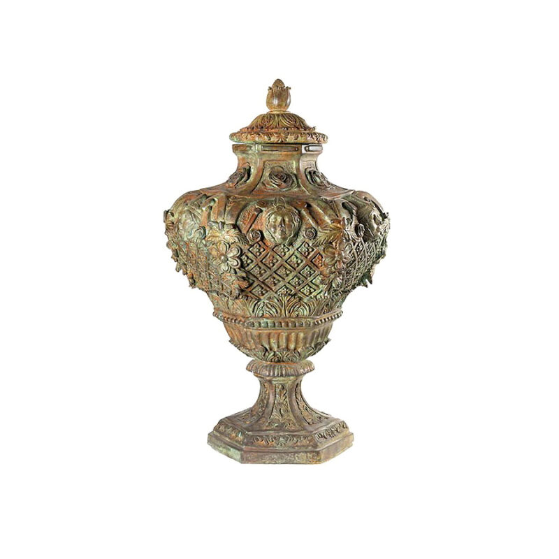 SRB85129 Bronze Floral Urn with Lid by Metropolitan Galleries Inc