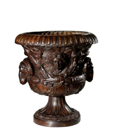 Cast Bronze Rams Head Floral Urn
