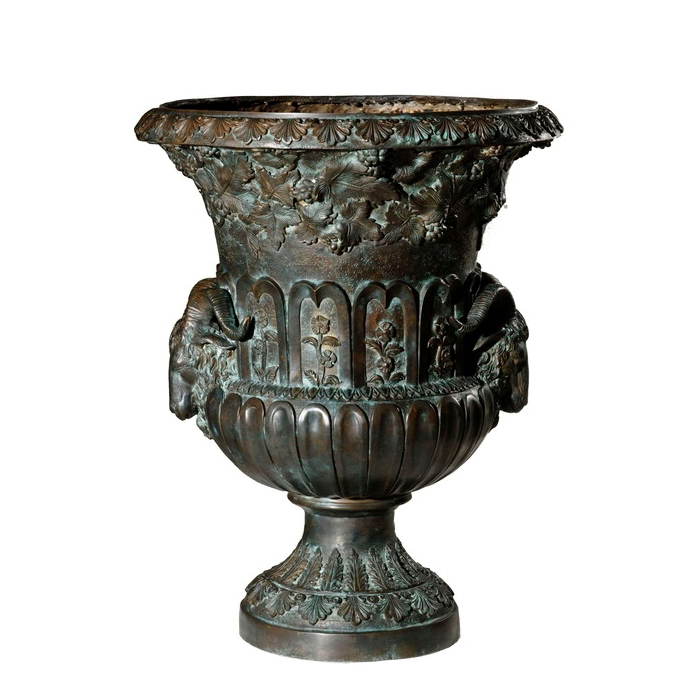 Cast Bronze Goat Head Flower Urn