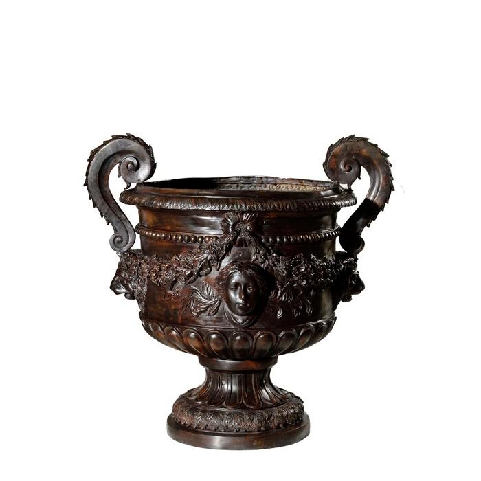 Cast Bronze Lion Head Flower Urn