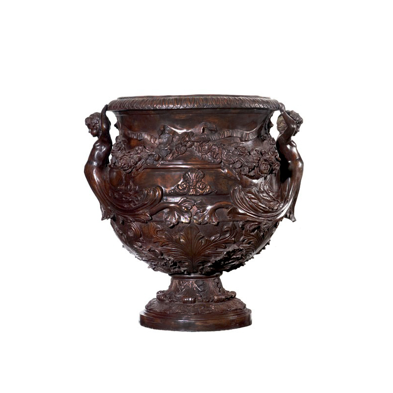 SRB85141 Bronze Floral & Cherubs Planter Urn by Metropolitan Galleries Inc