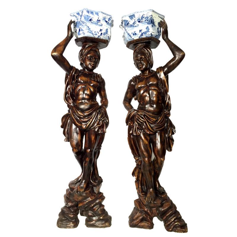 SRB87029-30 Bronze Blackamoor Porcelain Bowl Sculpture Set Metropolitan Galleries Inc.