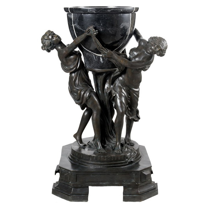 SRB87045 Bronze Ladies holding Marble Urn Sculpture Metropolitan Galleries Inc.