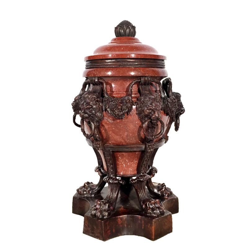 Red Marble Urn with Cast Bronze Lions with Rings & Base