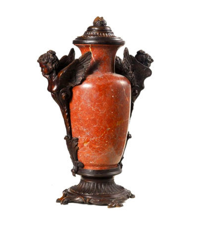 Red Marble Urn with Bronze Winged Lady Metropolitan Galleries Inc.