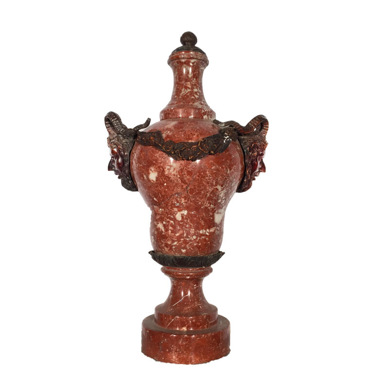 Red Marble Urn with Cast Bronze Ram Heads & Accents