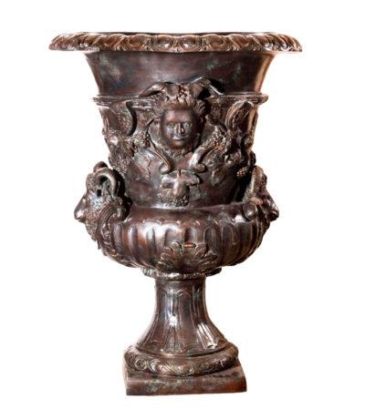 SRB96005 Bronze Rams Head Urn