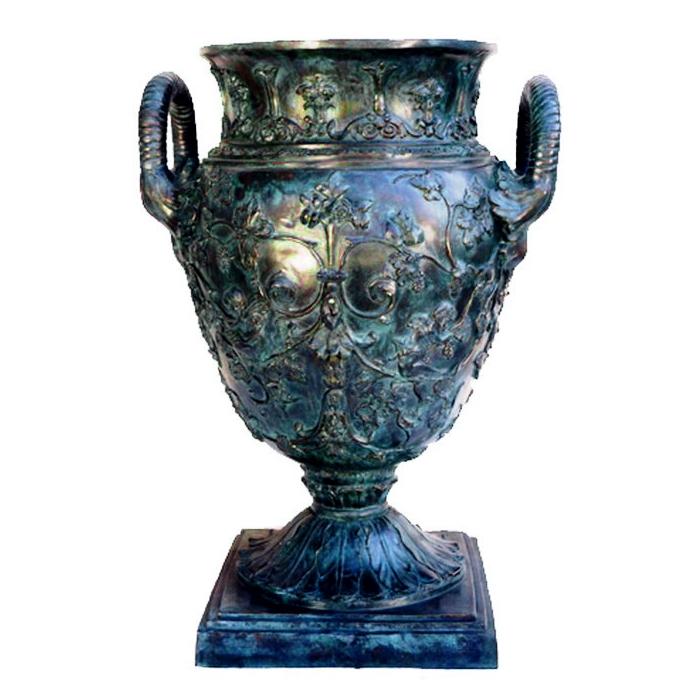 Bronze Floral Vessel with Handles Metropolitan Galleries Inc.