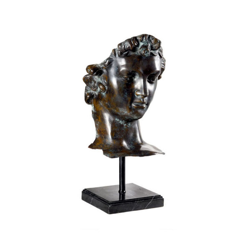 SRB96095 Bronze Head of David Partial Artifact Sculpture by Metropolitan Galleries Inc