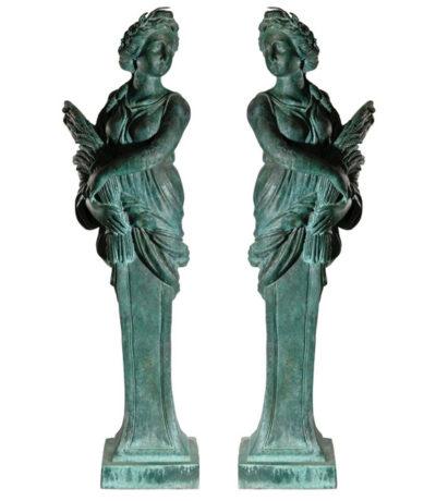 SRB97037 Bronze Female Bust Column Sculpture Set Metropolitan Galleries Inc.