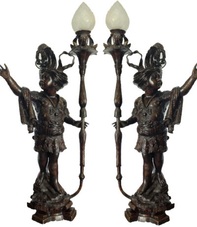 cast bronze blackamoor torchere set