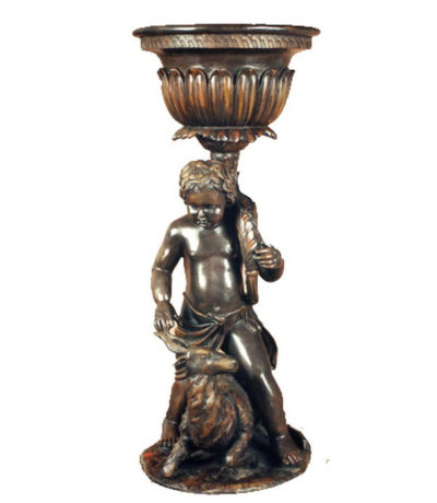 SRB991305 Bronze Boy & Fawn Urn Metropolitan Galleries Inc.