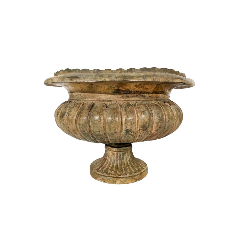 SRB991352 Bronze Classical Planter Urn in Sand Green Patina by Metropolitan Galleries Inc