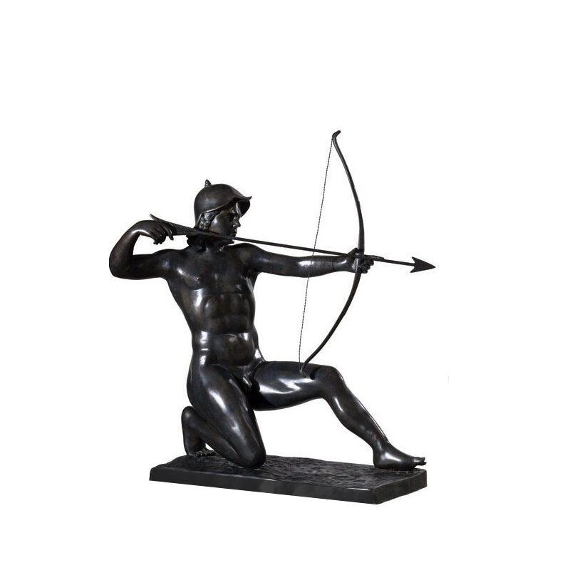 SRB991542 Bronze Kneeling Archer with Bow & Arrow Sculpture by Metropolitan Galleries Inc