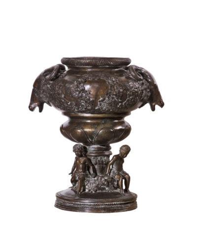 Bronze Rams Head Urn Sculpture Metropolitan Galleries Inc. Bronze Planter Urns