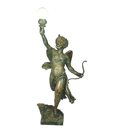 SRB991945 Bronze Cupid holding Light Sculpture Metropolitan Galleries Inc.