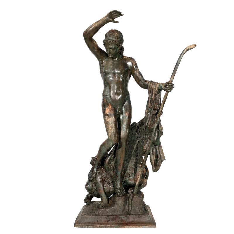 Bronze Man on Sphinx Mythological Sculpture Metropolitan Galleries Inc.
