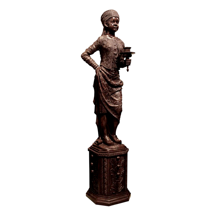 SRB992049-L Bronze Blackamour Torchere Sculpture Metropolitan Galleries Inc.