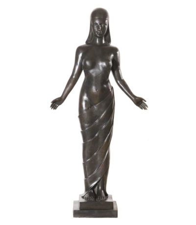 SRB992103 Bronze Lady with Cloth Sculpture Metropolitan Galleries Inc.