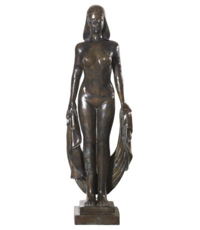 SRB992105 Bronze Lady with Cloth Sculpture Metropolitan Galleries Inc.