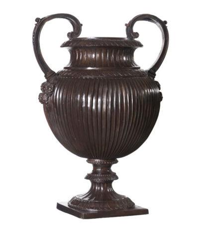 Bronze Lobed Urn with Handles Metropolitan Galleries Inc. Bronze Planter Urns