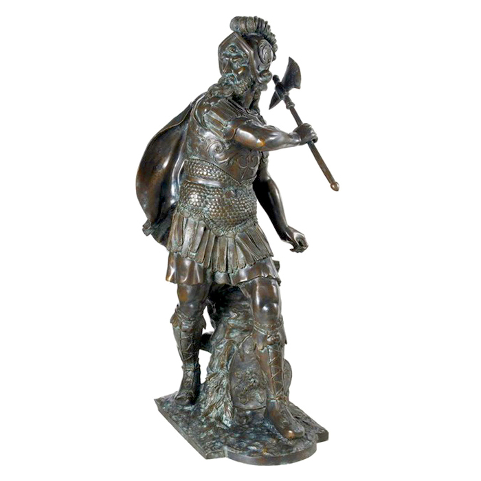 SRB992456 Bronze Knight with Hatchet Sculpture Metropolitan Galleries Inc