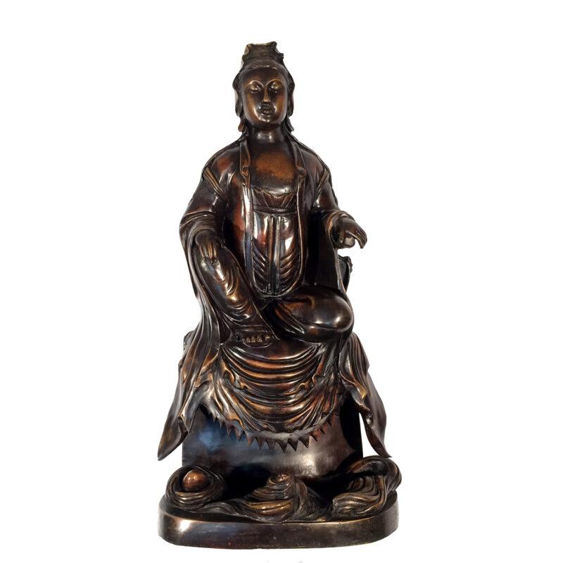 Bronze Meditating Chinese Figure Statue Metropolitan Galleries
