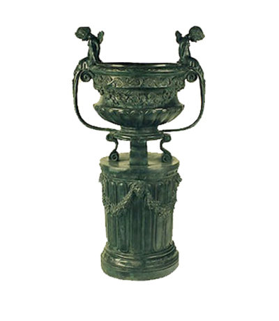 SRB992516 Bronze Flower Urn on Pedestal Metropolitan Galleries Inc.
