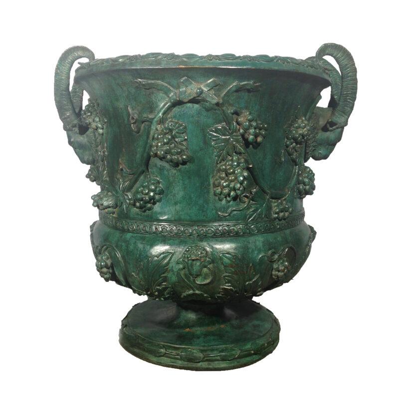 SRB43447 Bronze Rams Head Grape Vine Urn Metropolitan Galleries Inc.