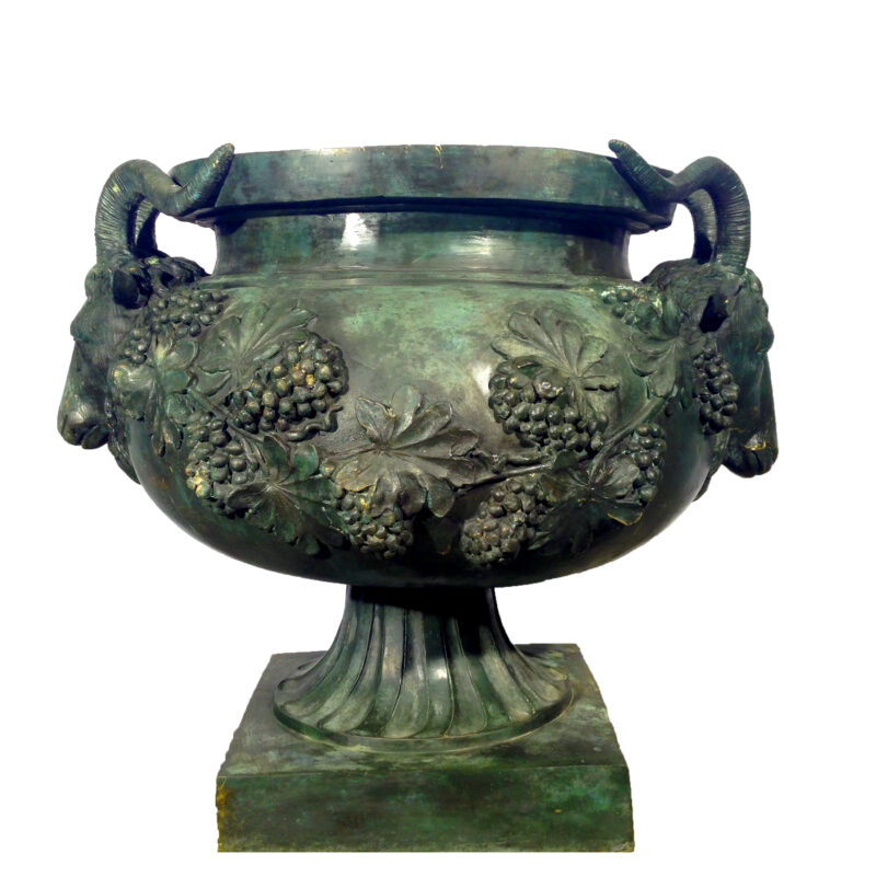 SRB55020 Bronze Grapevine Rams Head Urn Metropolitan Galleries Inc.