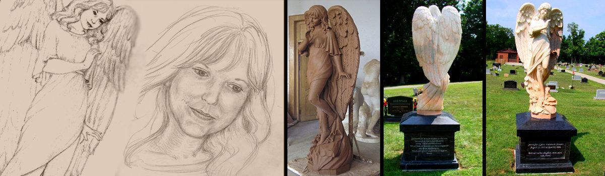 Carved Marble Memorial Angel Sculpture