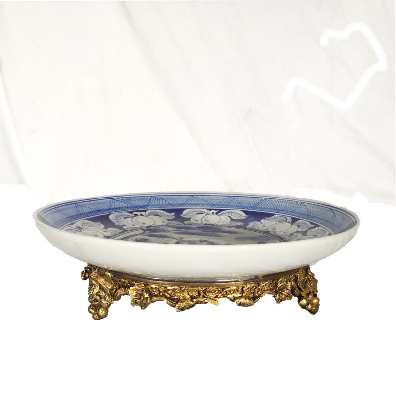 SRB30481 Porcelain Fruit Plate on Bronze Tray Metropolitan Galleries Inc.