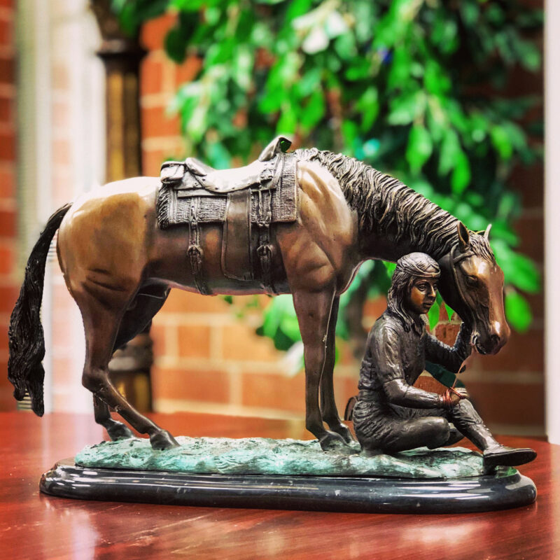 SRB46385 Bronze Indian with Horse Table Top Sculpture on Marble Base by Metropolitan Galleries Inc