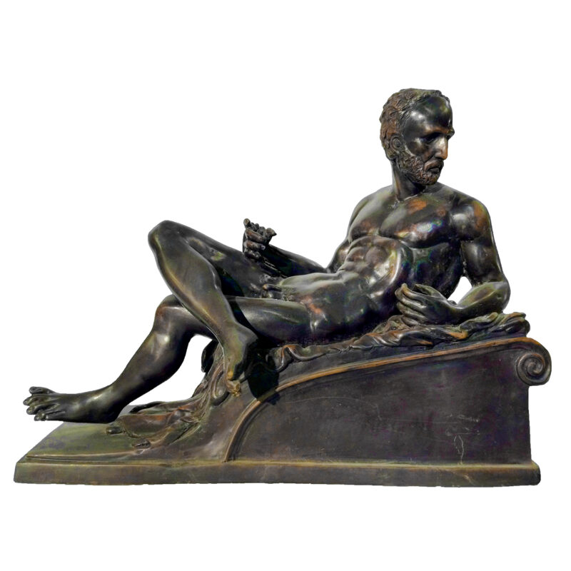 SRB81652 Bronze Nude Man on Base Sculpture Metropolitan Galleries Inc.