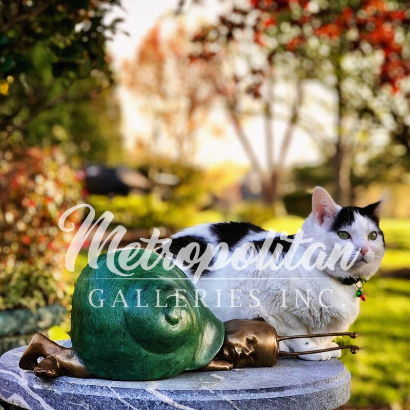 SRBC65004 Bronze Snail Baby Sculpture in Vintage Garden with Kitty by Metropolitan Galleries Inc