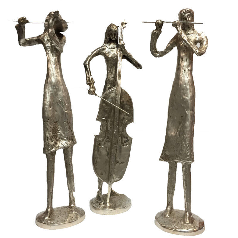 SRBC65002 Bronze Silver Musicians Trio Sculpture Set Metropolitan Galleries Inc.