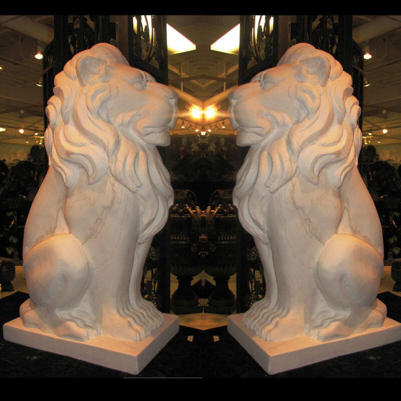 HCC300 Hearst Castle Marble Lion Sculpture Pair Metropolitan Galleries Inc.